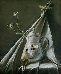 Tuch, Blumen, Kanne, Libelle