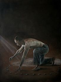 Stein, Menschen, Hüter, Ölmalerei