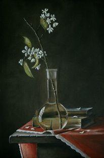 Kirschblüten, Tisch, Bücher, Realismus