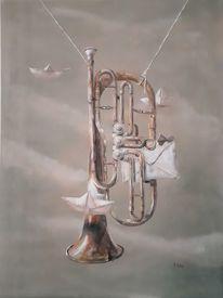 Papier schiffchen, Wolken, Traum, Tuba