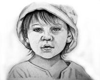 Zeichnungen, Portrait, Hut, Mädchen
