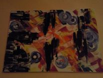 Leinen, Malerei, Abstrakt, Blau