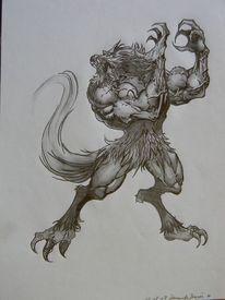 Bleistiftzeichnung, Wolf, Mystik, Werwolf