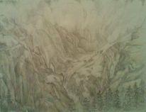 Baum, Schlucht, Karwendel, Zeichnung