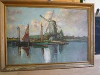 Malerei, Gewässer, Windmühle
