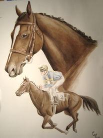 Aquarellmalerei, Portrait, Pferde, Wasserfarben