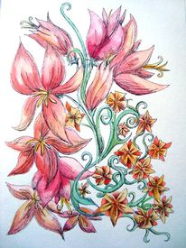 Blumen, Blüte, Aquarellmalerei, Natur