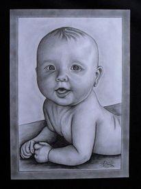 Fotografie, Bleistiftzeichnung, Portrait, Zeichnung