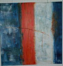 Acrylmalerei, Blau, Spachteltechnik, Pompidou
