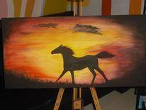 Sonnenuntergang, Pferde, Acrylmalerei, Malerei