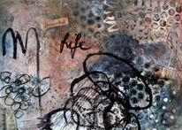 Malerei, Alte buchseiten, Mixed media, Acrylmalerei