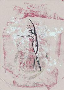 Collage, Bewegung, Zeichnung, Tanz