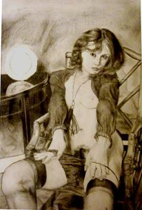 Erotik, Portrait, Zeichenpapier, Bleistiftzeichnung