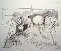 Skizze, Landschaft, Bleistiftzeichnung, Schwarzweiß