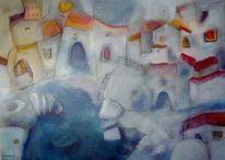 Winter stadt, Malerei, Winter