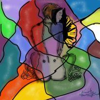 Abstrakt, Frau, Malerei, Menschen