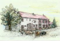 Alter, Bauernhof, Malerei