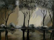 Baum, Licht, Wasserspiegel, Malerei