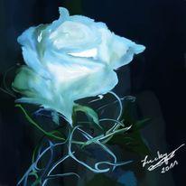 Blau, Rose, Malerei, Blumen