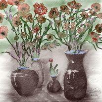 Aquarellmalerei, Blumengrüsse, Aquarell