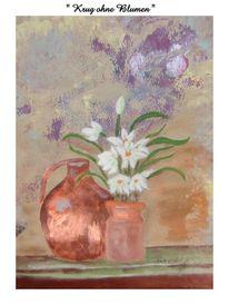 Krug, Blumen, Malerei, Stillleben