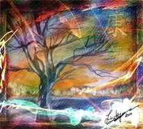 Sonnenlicht, Baum, Digitale kunst, Abstrakt