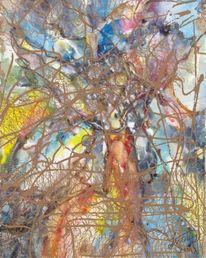 Digital, Blütenbaum, Aquarellmalerei, Aquarell