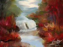 Wasserfall, Malerei,