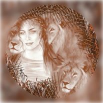 Löwin, Malerei, Digitale malerei