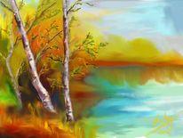 Birken, Malerei,