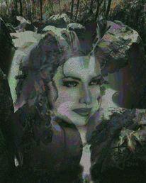 Frau, Blätter, Malerei