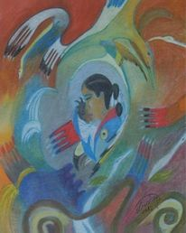 Kind, Indianer, Mutter, Malerei