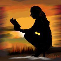 Meditation, Malerei, Menschen