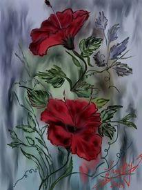 Rot, Hibiskus, Malerei, Blumen