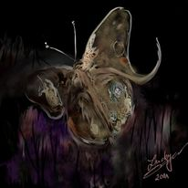 Nacht, Schmetterling, Malerei, Digitale malerei