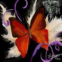 Schmetterling, Liebe, Malerei, Digitale malerei