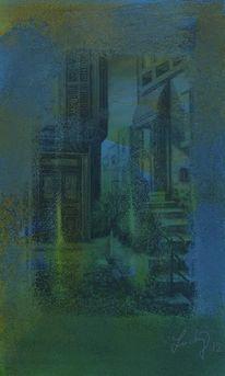 Treppe, Hinterhof, Malerei