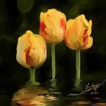 Tulpen, Wasserspiegel, Malerei, Blumen