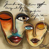 Gesicht, Malerei, Digitale malerei,