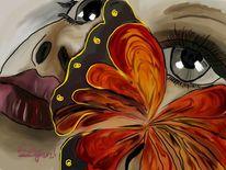 Schmetterling, Verträumt, Malerei, Menschen