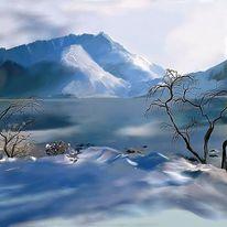 Malerei, Winter, Bergen