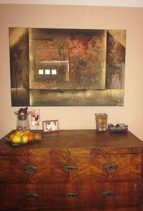 Ölmalerei, Orange, Abstrakt, Schimmer