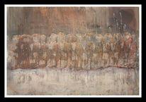 Flucht, Augen, Ölmalerei, Menschen