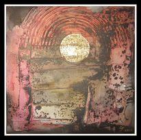 Ölmalerei, Mond, Gold, Blattgold