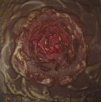 Braun, Gold, Blumen, Rot