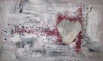 Herz, Grau, Struktur, Stein