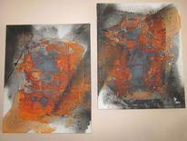 Orange, Ölmalerei, Schwarz, Modern