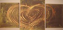 Gold, Struktur, Herz, Braun