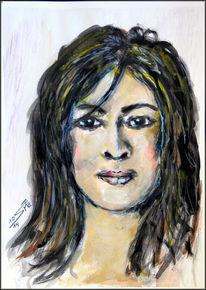 Frauenportrait, Gouachemalerei, Übungsskizze, Aquarellstifte