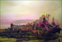 Sonnenuntergang, Wasserfarben, Aquarellartig, Landschaft